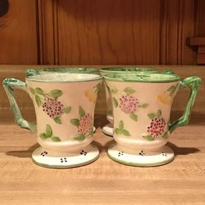 RARE 1989 Majolica Floral Mugs by The Haldon Group